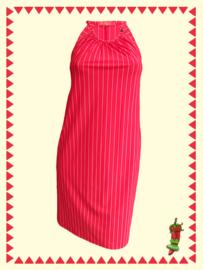 Mrs. Pepper mouwloze jurk rood met streepje