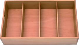 Bestekkist hout 4-vaks 52x31x12 cm