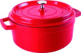 Braadpan 28x8 cm 2,4 liter rood met deksel
