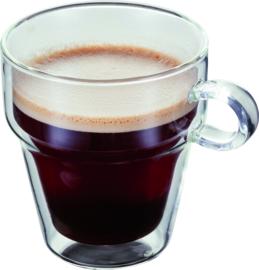 Koffiebeker glas dubbelwandig set van 2