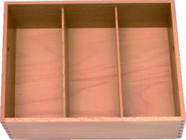 Bestekkist hout 3-vaks 40x31x12 cm