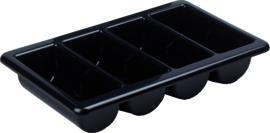 Bestekbak 4-vaks GN 1/1 afm 53x32.5x10 cm zwart