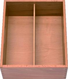 Bestekkist hout 2-vaks 33x29x12 cm