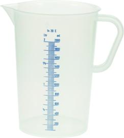 Maatbeker 2 liter kunststof polyethyleen met maatverdeling