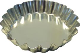 Vlaaivorm 10 cm met geribte rand en vaste bodem vertind