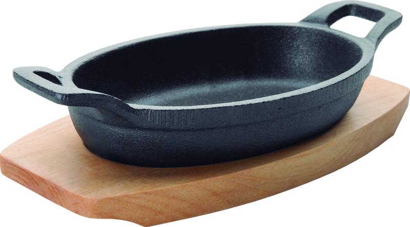 Braadpan ovaal gietijzer 15x10 cm op houten plateau