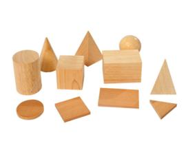 Houten geometrische vormen set, 11-delig