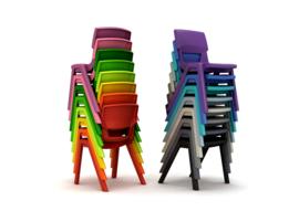 # Stapelbare kunststof stoel Postura+