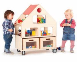 Verrijdbaar poppenhuis, zonder lades
