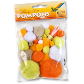 Pompons, geel-oranje kleuren
