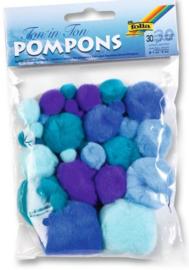 Pompons, blauwe kleuren