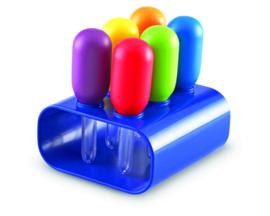 Reuze pipetten in een standaard, 6 stuks, Learning Resources