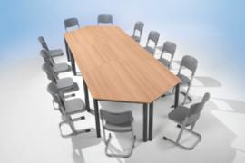 Trapezium tafel vaste hoogte 160 x 80 cm