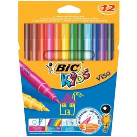 Kleurstiften BiC Kids Visa, 12 stuks