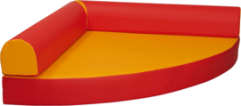 Kwartcirkel relaxeiland kunstleer, geel / rood