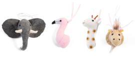 Houten babygym tipi wit met mini dierenkoppen