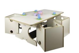 # Peuterset tafel met 4 kuipstoeltjes wit, tafel 46 cm hoog