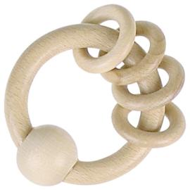 Houten rammelaar met 4 ringen