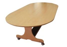 Verrijdbare tafel ovaal 180  x 120 cm, berken