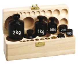 Gewichtenset XL in houten kist met deksel
