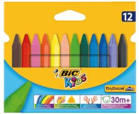 Waskrijtjes Bic Kids Plastidecor Triangle, 12 stuks