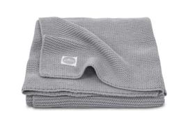 Deken 100x150cm basic knit stone grey