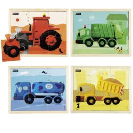 Puzzelset voertuigen, 4 stuks