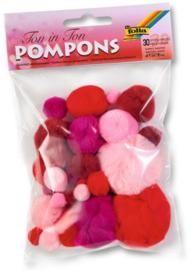 Pompons,  rood-roze  kleuren