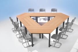 Trapezium tafel vaste hoogte 140 x 70 cm