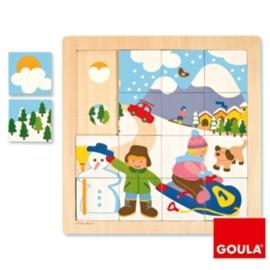 Puzzel deel - geheel - Winter, 16-delig