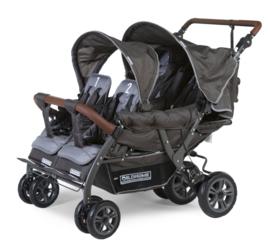 # Quadruple, 4-persoons kinderwagen incl. regenhoes, beschermhoes en automatisch remsysteem
