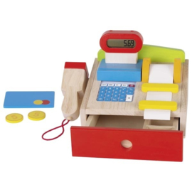Houten kassa met scanner en rekenmachine