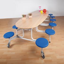 Spaceflex 12-zits Ovaal tafelblad Melamine, zithoogte 46 cm
