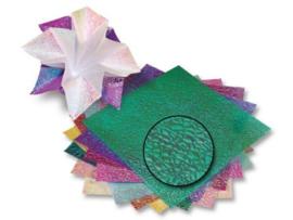 Vouwbladen iriserend met edelwerkende 'Kristalprint' 14 x 14 cm, 50 vel