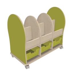 Boekenwagen Midi, 6 vakken en 3 ErgoTray laden L