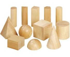 Houten geometrische vormen set, 12-delig