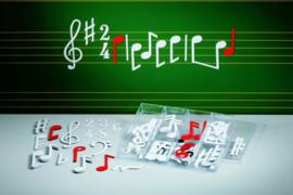 Set muzieknoten in kunststof sorteerkast