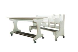 Ergonomisch tafel & zitsysteem recht berken/wit hpl