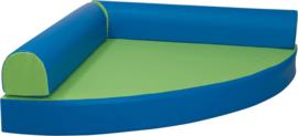 Kwartcirkel relaxeiland kunstleer, blauw / groen
