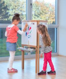 Houten schildersezel en krijtbord 3-zijdig