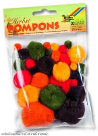Pompons, in herfst kleuren