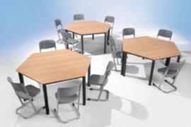 Trapezium tafel vaste hoogte 120 x 60 cm