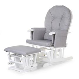 Gliding chair canvas grijs met voetenbank
