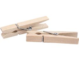 Medium houten wasknijpers, set van 50 stuks