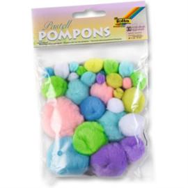 Pompons, pastel kleuren