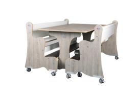 Ergonomisch tafel & zitsysteem recht berken/decor hpl