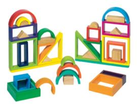 Regenboogblokken in houten kist, 38-delig