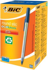 Balpen BiC Ecolutions Round Stic blauw, 60 stuks