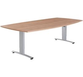 Basic vergadertafel tonvorm 200 x 80/100 cm, instelbaar 62-86 cm.