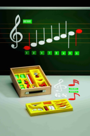 Set muzieknoten in houten koffer
